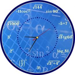 Купить Часы настенные для кабинета математики в синих тонах 390*390 мм в России от 775.00 ₽
