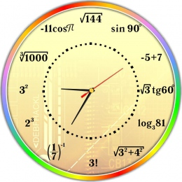 Купить Часы настенные для кабинета математики в стиле Радуга 390*390 мм в России от 775.00 ₽