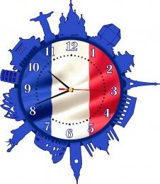 Купить Часы настенные кварцевые для кабинета французского языка 420*480 мм в России от 885.00 ₽