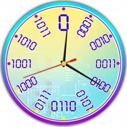 Купить Часы настенные кварцевые для кабинета информатики в фиолетово-голубых тонах 250*250 мм в России от 604.00 ₽