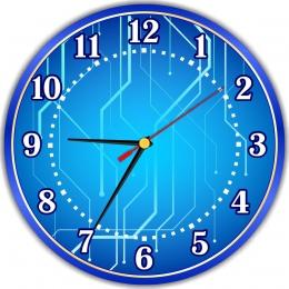 Купить Часы настенные кварцевые для кабинета информатики в синих тонах 250*250 мм в России от 604.00 ₽