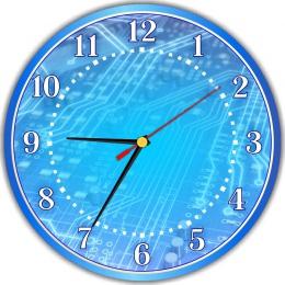Купить Часы настенные кварцевые для кабинета информатики в синих тонах  250*250 мм в России от 622.00 ₽