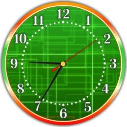 Купить Часы настенные кварцевые для кабинета информатики в зелёных тонах  250*250 мм в России от 604.00 ₽
