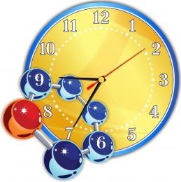 Купить Часы настенные кварцевые для кабинета химии в голубых тонах 290*290мм в России от 674.00 ₽
