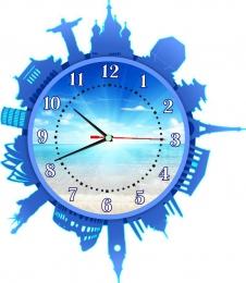 Купить Часы настенные кварцевые Достопримечательности мира в голубых тонах 420*480 мм в России от 885.00 ₽