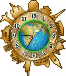 Купить Часы настенные кварцевые Достопримечательности мира в кабинет географии 330*380 мм в России от 702.00 ₽