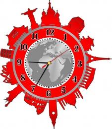 Купить Часы настенные кварцевые Достопримечательности мира в красно-серых тонах 360*410 мм в России от 803.00 ₽