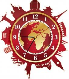 Купить Часы настенные кварцевые Достопримечательности мира в золотисто-бордовых тонах 330*370 мм в России от 702.00 ₽