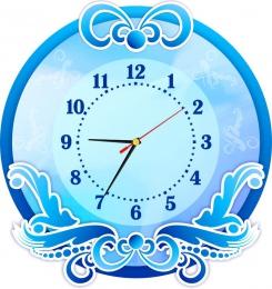 Купить Часы настенные кварцевые в голубых тонах 380*400 мм в России от 775.00 ₽