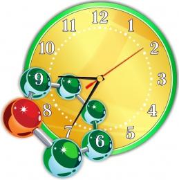 Купить Часы настенные кварцевые в кабинет химии в золотисто-зеленых тонах 290*290мм в России от 653.00 ₽