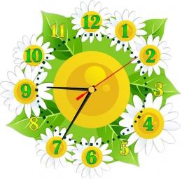 Купить Часы настенные кварцевые в стиле группы Ромашка и Цветочек 360*350 мм в России от 725.00 ₽