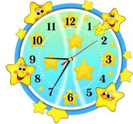 Купить Часы настенные кварцевые в стиле группы Звёздочка в жёлто-голубых тонах 340*320 мм в России от 699.00 ₽