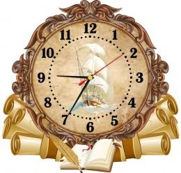 Купить Часы настенные кварцевые  в стиле Свиток с кораблём 360*340 мм в России от 725.00 ₽
