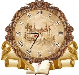 Купить Часы настенные кварцевые  в стиле Свиток в кабинет истории 360*340 мм в России от 702.00 ₽