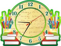 Купить Часы настенные кварцевые в зеленых тонах на школьную тематику 320*240 мм в России от 604.00 ₽