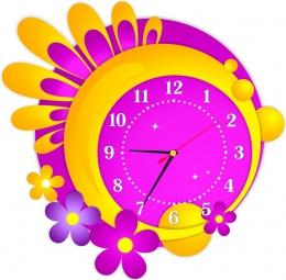 Купить Часы настенные кварцевые в жёлто-сиреневых тонах 430*420 мм в России от 844.00 ₽