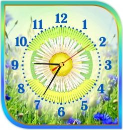 Купить Часы настенные кварцевые в золотисто-бирюзовых тонах 300*320 мм в России от 653.00 ₽