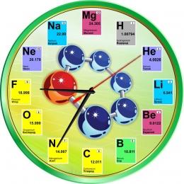 Купить Часы в кабинет Химии с элементами периодической системы в зелёных тонах 250*250мм в России от 604.00 ₽