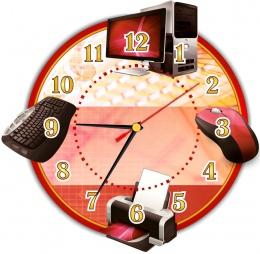 Купить Часы в кабинет информатики с тематическими изображениями 280*270 мм в России от 653.00 ₽