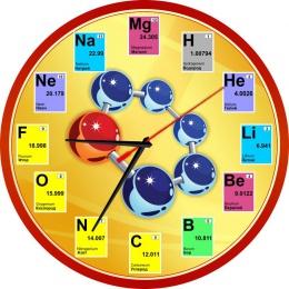 Купить Часы в кабинет Химии на русском языке с элементами периодической системы 250*250мм в России от 604.00 ₽