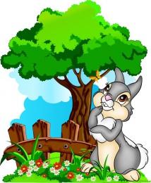Купить Фигурный двухсторонний элемент Зайка на лужайке с деревом для оформления детской площадки или группы 580х700 в России от 2188.00 ₽