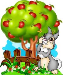 Купить Фигурный двухсторонний элемент Зайка на лужайке с яблоней для оформления детской площадки или группы 840х1000 в России от 4297.00 ₽