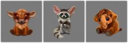 Купить Картина на холсте (триптих) Милые животные в России от 1093.00 ₽