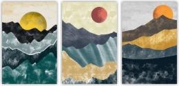 Купить Картина на холсте (триптих) Абстракция с солнцем в России от 1049.00 ₽
