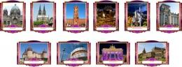 Купить Комплект фигурных стендов Достопримечательности Германии для кабинета немецкого языка в золотисто-фиолетовых  тонах 270*350 мм, 350*270 мм в России от 3676.00 ₽