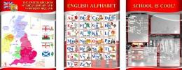 Купить Комплект из 3-х стендов  для кабинета английского языка в красно-серых тонах в стиле Лондон 1950*750 мм в России от 5140.00 ₽