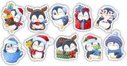 Купить Комплект новогодних наклеек Пингвины 380*245 мм в России от 166.50 ₽