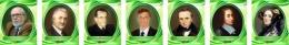 Купить Комплект портретов для кабинета информатики в золотисто-зелёных тонах 260*330 мм в России от 2144.00 ₽