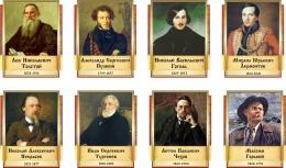 Купить Комплект  портретов Литературных классиков для кабинета русской литературы №3 300х370 см в России от 3277.00 ₽