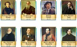 Купить Комплект  портретов Литературных классиков для кабинета русской литературы в золотисто-синих тонах 240*300 мм в России от 2125.00 ₽