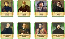 Купить Комплект  портретов Литературных классиков для кабинета русской литературы в золотисто-зеленых тонах 240*300 мм в России от 2241.00 ₽