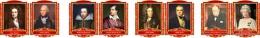 Купить Комплект портретов портретов Знаменитые Британцы для кабинета английского языка жёлто-красные  260*350 мм в России от 2686.00 ₽