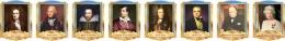 Купить Комплект портретов портретов Знаменитые Британцы  в золотисто-голубых тонах 260*350 мм в России от 2686.00 ₽
