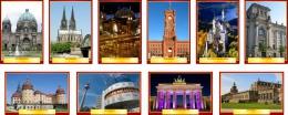 Купить Комплект стендов Достопримечательности Германии для кабинета немецкого языка в золотисто-бордовых тонах  215*310 мм, 310*210 мм в России от 2324.00 ₽