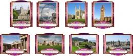 Купить Комплект стендов Достопримечательности Великобритании  в золотисто-сиреневых тонах 265*350 мм, 280*350 мм в России от 2815.00 ₽