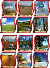 Купить Комплект стендов Природные зоны для кабинета географии в золотисто-бордовых тонах 300*300 мм в России от 3985.00 ₽