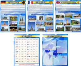 Купить Комплект стендов в кабинет иностранного языка Английский, Немецкий, Французский,США 600*750 мм в России от 10472.00 ₽