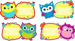 Купить Комплект табличек на шкафчики Совушки с карманами для имен детей в России от 1500.00 ₽