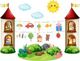 Купить Композиция для детских рисунков Наше творчество в группу Сказка 2290*1730 мм в России от 8263.00 ₽