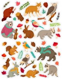 Купить Набор декоративных наклеек Осень в лесу со зверятами 630х265мм в России от 238.00 ₽