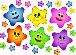 Купить Набор декоративных наклеек Звездочки разноцветные 61*59 мм и 210*210 мм в России от 485.00 ₽