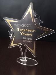 Купить Награда Звезда с гравировкой и зеркальной плёнкой 150*170 мм в России от 530.00 ₽