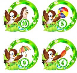 Купить Наклейки группа Птенчики с цифрами 30 шт. размер 59*53 мм в России от 174.00 ₽