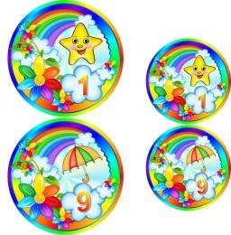 Купить Наклейки на шкафчики группа Семицветик 60шт., размер 74х74 и 53х53 мм в России от 387.00 ₽