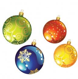 Купить Наклейки Новогодние шарики ,размер 103х120 и 84х98 мм 24 шт в России от 296.00 ₽