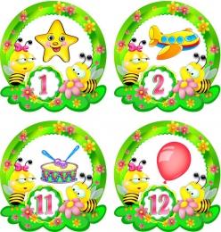 Купить Наклейки Пчелки на шкафчики с цифрами 30шт.,размер 123х127 мм в России от 777.00 ₽